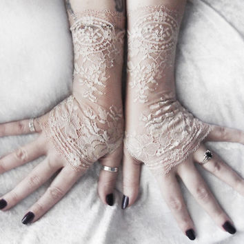 Plaudit Long Lace Fingerless Gloves | Pale Taupe Oatmeal Tan Floral | Wedding Bridal Woodland Bridesmaid Gothic Lolita Goth Tribal Gypsy