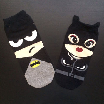 Set of 2 Double lovers batman batwoman cartoon socks christmas gift
