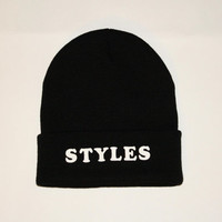 Semi Annual Sale- Black Beanie with words, grunge beanie, beanie with letters, Harry, Styles Beanie, One Direction beanie Harry Styles
