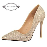 Women 4 Inch Stiletto Party Pumps with Crystal Rhinestone Detailing