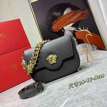 VERSACE WOMEN'S 066 24 MINI SIZE LEATHER INCLINED CHAIN SHOULDER BAG GREY