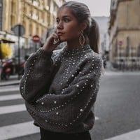 Women Sweaters And Pullovers Bead Lantern Sleeve Knitted Sweater Pullover