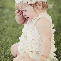 Lace Petti Baby Romper, Ivory with Flowers and Rosette Embellishments, Baby Rompers