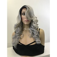 Black Gray Human Hair Blend Multi Parting Lace Front Wig -  Suey
