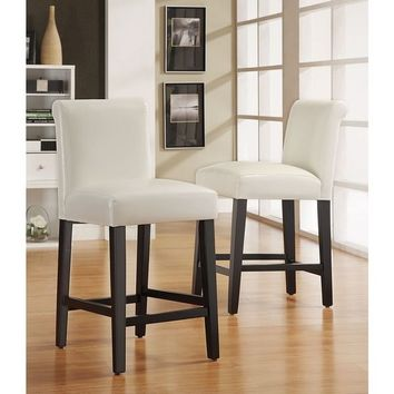 Bennett White Faux Leather 24-inch Counter Height High Back Stools (Set of 2) by iNSPIRE Q Bold | Overstock.com Shopping - The Best Deals on Bar Stools