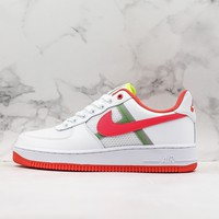 Nike Air Force 1 Low Transparent Mesh White Bright Crimson-Barely Volt - Best Deal Online