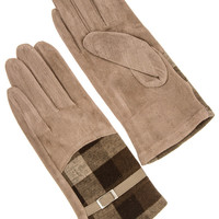 CHECKERED BUCKLE ACCENT FAUX SUEDE FASHION GLOVE