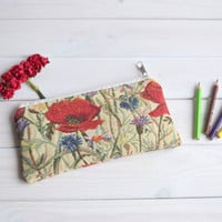 Poppies pencil case zipped, Pencil Pouch, Cosmetic pouch, Make Up Pouch, Charger bag, Project bag, Travel bag, Bridesmaid gift, Bridal purse