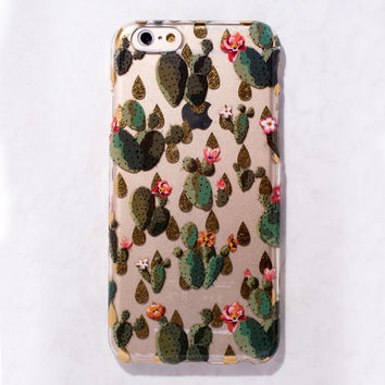 Clear Multicolor Cactus Desert Succulent iPhone 6S/ 6 case