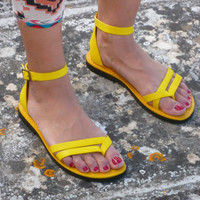 Yellow Sandals, Womens shoes, yellow shoes made In Italy, yellow leather sandals type Formentera
