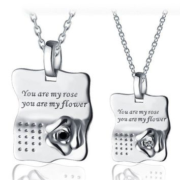 Unique Rose Sterling Silver Best Friend Necklaces Jewelry for 2 Personalized Couples Jewelry | Occasions Uncommon Gifts | Unique Phone Cases | Worldwide Shipping