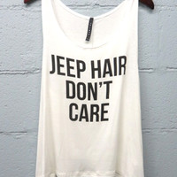 Jeep Hair Don't Care Tank Top (White)