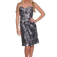 Beautifly Women's Silver Sweetheart Sequin Dress