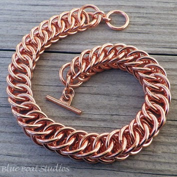 Copper chainmaille bracelet; chainmaille jewelry; half-persian 4-1 bracelet; copper chain maille bracelet; copper bracelet