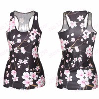 Amazing 3d flowers Tank Tops Women Fitness Peach Blossom Sport Camis Ladies Slim-Fitting Sports Yoga shirts