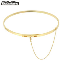 Enfashion Safety Chain Chokers Necklaces Pendants Gold Necklace Stainless Steel Choker Necklace For Women Jewelry Kolye Collier