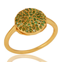925 Sterling Silver Tsavorite Gemstone Stacking Ring With 14K Gold Plated