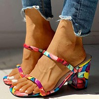 Fashion one-word sandals and slippers women's thick and high-heeled cross-color women's sandals