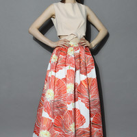 Red Merry Poppy Pleated Maxi Skirt Multi
