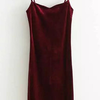 V-Neck Split Side Velvet Bodycon Strappy Dress