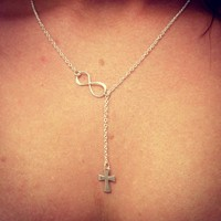 Sterling Silver Cross and Infinity Lariat Necklace