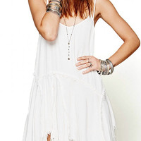 Asymmetric Hem Cami Dress with Fringe Details in White