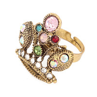 Colorful Rhinestone Crown Designed Ring