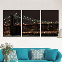 Home Decor Canvas Painting Modern City Bridge Landscape Decorative Paintings Abstract Wall Pictures 3 Panel Wall Art No Frame