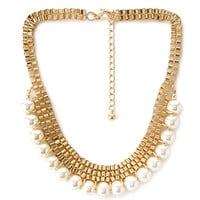 FOREVER 21 Faux Pearl Choker Necklace Gold/Cream One