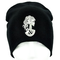Lady of Death Skeleton Cameo Beanie Occult Clothing Knit Cap