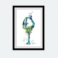 Figure skating art print Ice skating poster Figure skating colorful painting Home decoration Kids room decor Sport wall art poster W485