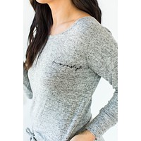 Embroidered Weekend Fleece Laced Back Pullover in Gray