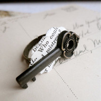 Cast iron styled small key and vintage shakespeare play paper cocktail ring, adjustable to sizes 5-9, In Shakespeare's Cast