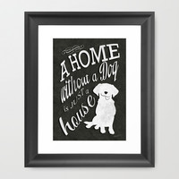 Home with Dog Framed Art Print by Roboz