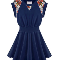 Floral Lace Accent Short Sleeve Pleated Mini Skater Dress
