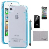 """ULAK iPhone 4S Case Clear Case with Transparent TPU Case for Apple iPhone 4 4S (3.5"""" inch) Blue"""