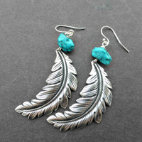 Turquoise chunk gemstone and Feather earrings, metal. Sterling silver jewelry. Bohemian.