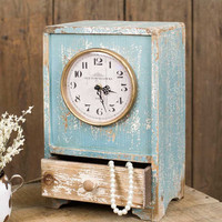 Vintage Blue Tabletop Clock with Drawer