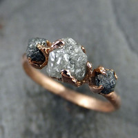 Raw Diamond Engagement Ring Rough Uncut 14k rose Gold Wedding Ring Wedding Set Stacking Ring Rough Diamond Ring 3 stone byAngeline