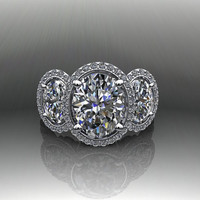 Forever Brilliant Moissanite and Diamond Three Stone Oval Engagement Ring 4.85 CTW