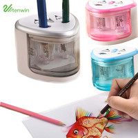 New Two-hole Sacapuntas Electric Pencil Sharpener Electronic Desktop School Office Home Automatic Pencil Sharpener TN8004