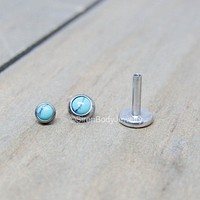 """Turquoise flat back earrings 16g titanium high polish 1/4"""" or 5/16"""" length 3mm or 4mm bezel set synthetic turquoise ear lip conch helix stud"""