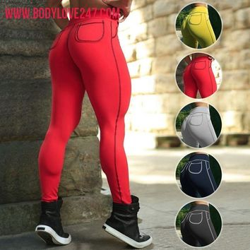 Yoga Pants Sports Exercise Tights Fitness Compression Pants Pocket Leggings