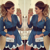 FASHION LONG SLEEVE LACE DRESS