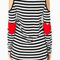 Black and White Striped Heart Elbow Patch Shirt