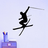 Wall Decal Vinyl Sticker Downhill Skiing Skier Ski Snow Freestyle Jumping Extreme Sports Wall Decals Murals Winter Gift Kids Room Decor Z862