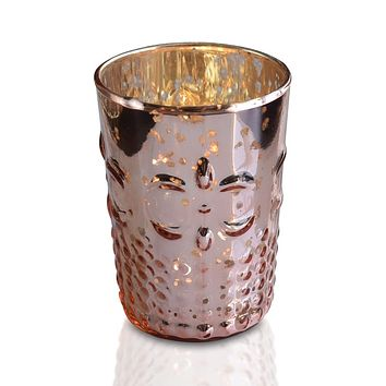 Fleur Mercury Glass Tealight Holder (Rose Gold Pink, Single) For Use with Tea Lights - For Home Decor, Parties and Wedding Decorations