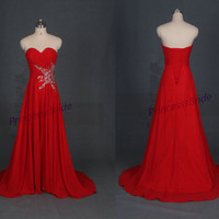 Floor length red chiffon prom dresses with sequins,inexpensive bridesmaid dress on sale,elegant women gowns for evening party.