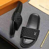 Louis Vuitton LV Fashion new tartan slippers men shoes Black