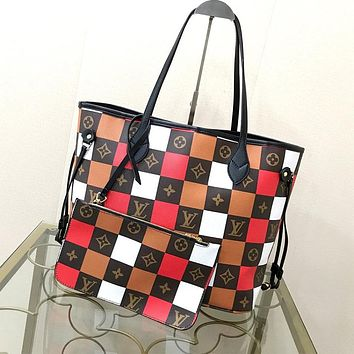 LV 2020 new product tide brand check female shopping bag mother bag two-piece set